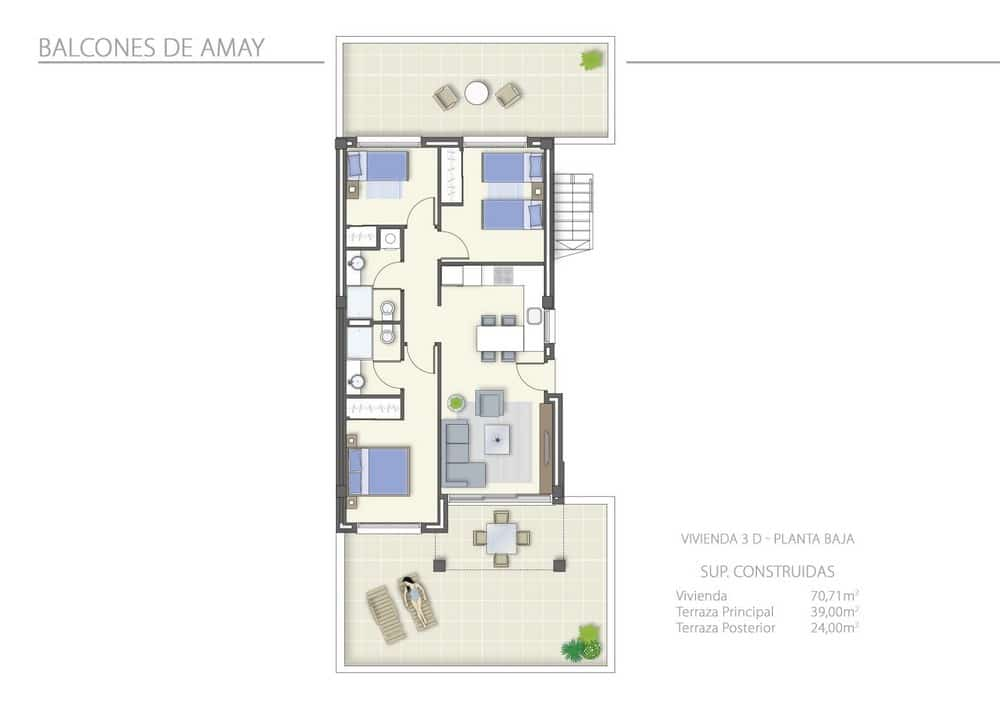 A vendre appartement neuf espagne mcb immobilier costa for Plan appartement 3 chambres